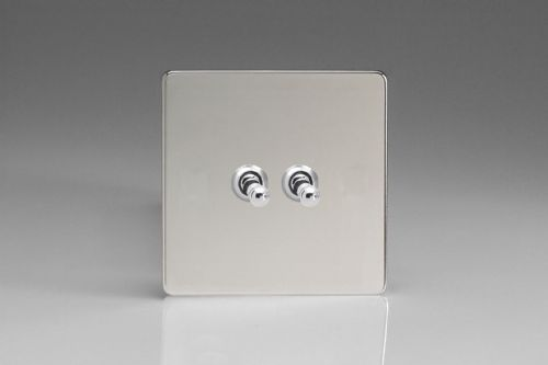 Varilight XECT2S Euro Polished Chrome 2 Gang 10A 1 or 2 Way Toggle Light Switch